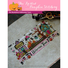 The Mysterious Halloween Town - Printed Cross-Stitch Pattern by Jody Rice for The Frosted Pumpkin Stitchery