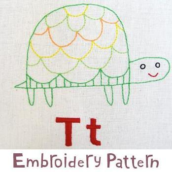 Turtle Embroidery - PDF Accessory Pattern