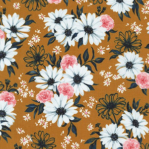 WEL-19422-165 COPPER Daisy Made Posy in Copper by Wishwell for Robert Kaufman Fabrics at Pink Castle Fabrics