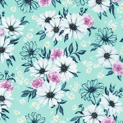 WEL-19422-32 MINT Daisy Made Posy in Mint by Wishwell for Robert Kaufman Fabrics at Pink Castle Fabrics