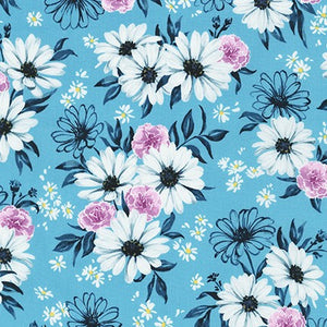 WEL-19422-63 SKY Daisy Made Posy in Sky by Wishwell for Robert Kaufman Fabrics at Pink Castle Fabrics