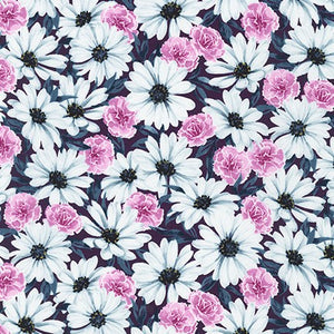 WEL-19423-112 RASPBERRY Daisy Made Field in Raspberry by Wishwell for Robert Kaufman Fabrics at Pink Castle Fabrics
