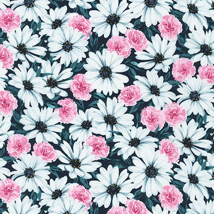 WEL-19423-213 TEAL Daisy Made Field in Teal by Wishwell for Robert Kaufman Fabrics at Pink Castle Fabrics