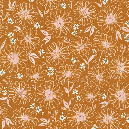 WEL-19424-165 COPPER Daisy Made Sketchy in Copper by Wishwell for Robert Kaufman Fabrics at Pink Castle Fabrics