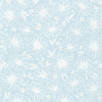 WEL-19424-412 DOVE Daisy Made Sketchy in Dove by Wishwell for Robert Kaufman Fabrics at Pink Castle Fabrics