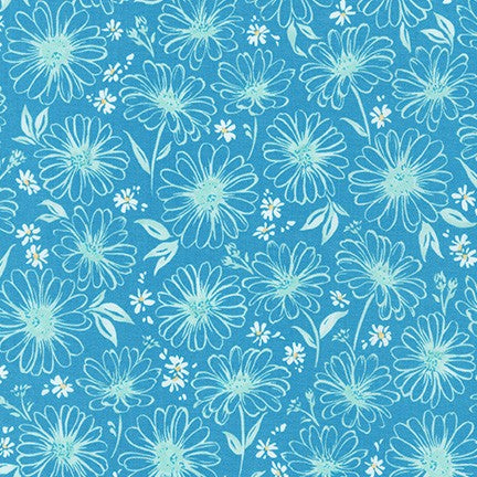 WEL-19424-68 DUSTY BLUE Daisy Made Sketchy in Dusty Blue by Wishwell for Robert Kaufman Fabrics at Pink Castle Fabrics