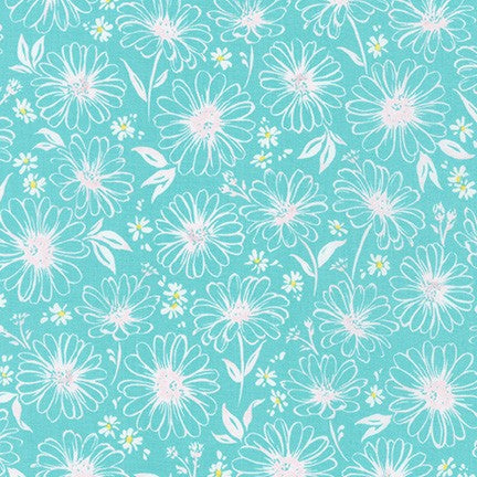 WEL-19424-70 AQUA Daisy Made Sketchy in Aqua by Wishwell for Robert Kaufman Fabrics at Pink Castle Fabrics