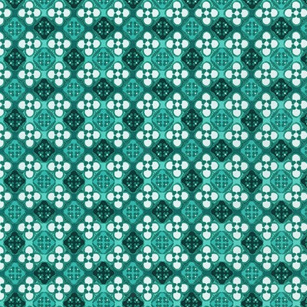 WEL-19426-81 TURQUOISE Daisy Made Patterned in Turquoise by Wishwell for Robert Kaufman Fabrics at Pink Castle Fabrics
