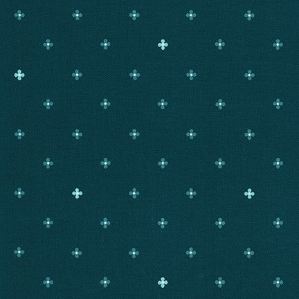 WEL-19427-213 TEAL Daisy Made Flowers in Teal by Wishwell for Robert Kaufman Fabrics at Pink Castle Fabrics