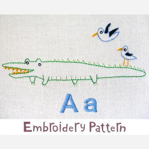 Alligator Embroidery - PDF Accessory Pattern