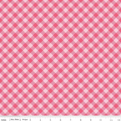 Bee Basics Gingham in Raspberry from Bee Basics, Backgrounds & Backings by Lori Holt for Riley Blake