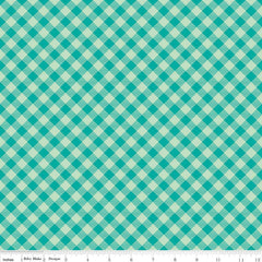 Bee Basics Gingham in Teal from Bee Basics, Backgrounds & Backings by Lori Holt for Riley Blake