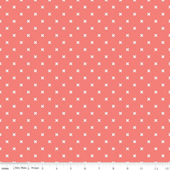 Bee Basics X in Coral from Bee Basics, Backgrounds & Backings by Lori Holt for Riley Blake