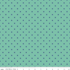 Bee Basics X in Teal from Bee Basics, Backgrounds & Backings by Lori Holt for Riley Blake