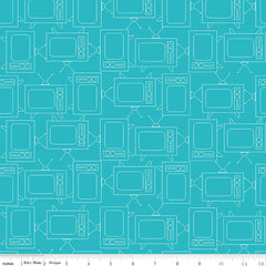 Bee Basics TV in Turquoise from Bee Basics, Backgrounds & Backings by Lori Holt for Riley Blake