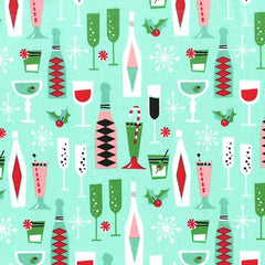 Holiday Party in Mint Fabric from Novelty by Michael Miller House Designers  for Michael Miller