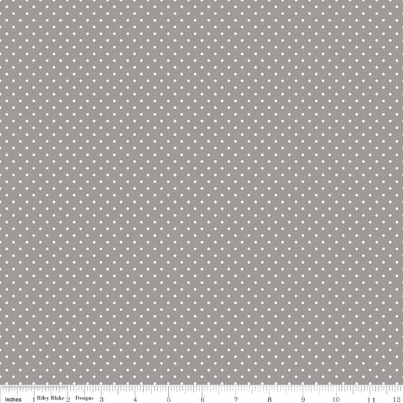 Swiss Dot Flannel in Gray