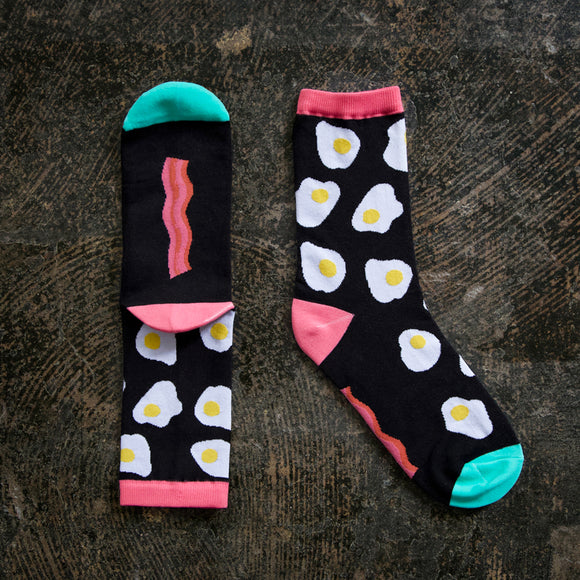 Bacon and Eggs Socks by Kimberly Kight - 1 Pair