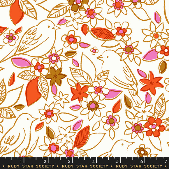 RS5001 11 Aviary Botanical in Ivory by Melody Miller, Rashida Coleman-Hale and Alexia Marcelle Abegg for Ruby Star Society from Pink Castle Fabrics