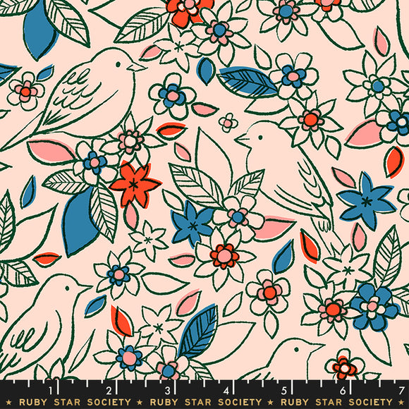 RS5001 14 Aviary Botanical in Pale Peach by Melody Miller, Rashida Coleman-Hale and Alexia Marcelle Abegg for Ruby Star Society from Pink Castle Fabrics