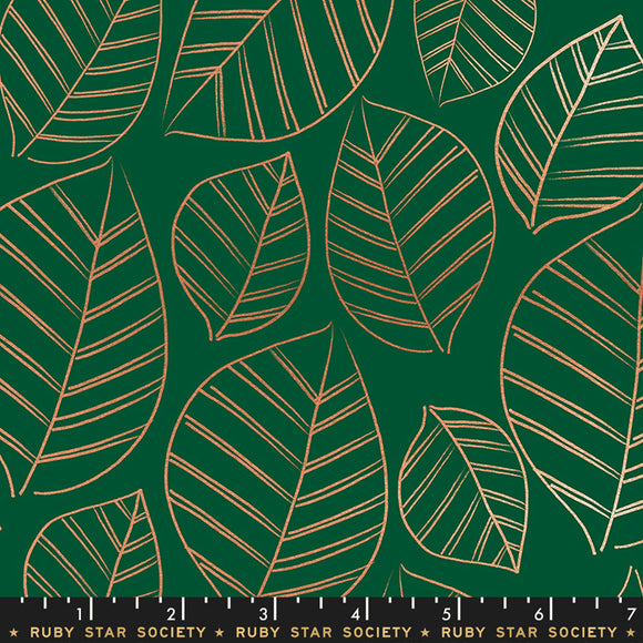 RS5003 15M Aviary Leafy Metallic in Jade by Melody Miller, Rashida Coleman-Hale and Alexia Marcelle Abegg for Ruby Star Society from Pink Castle Fabrics