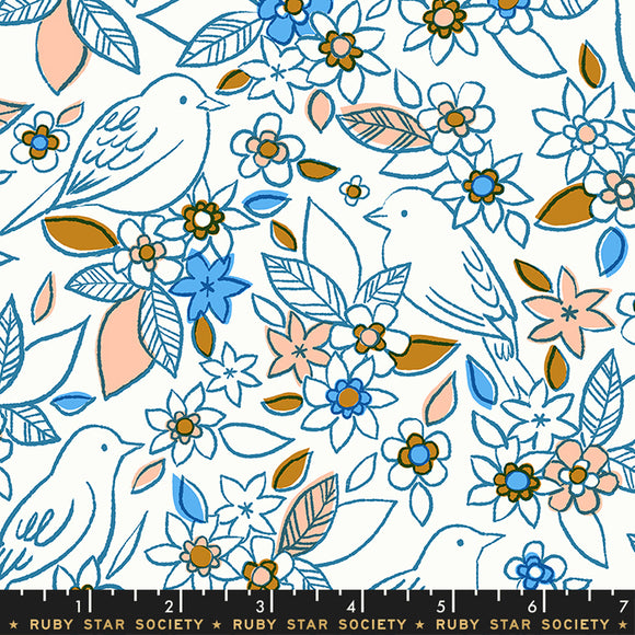 RS5001 13 Aviary Botanical in Chambray by Melody Miller, Rashida Coleman-Hale and Alexia Marcelle Abegg for Ruby Star Society from Pink Castle Fabrics