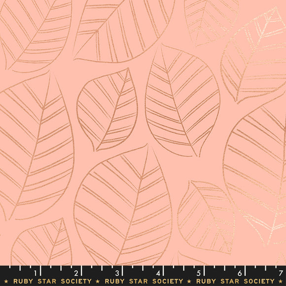 RS5003 12M Aviary Leafy Metallic in Peach by Melody Miller, Rashida Coleman-Hale and Alexia Marcelle Abegg for Ruby Star Society from Pink Castle Fabrics