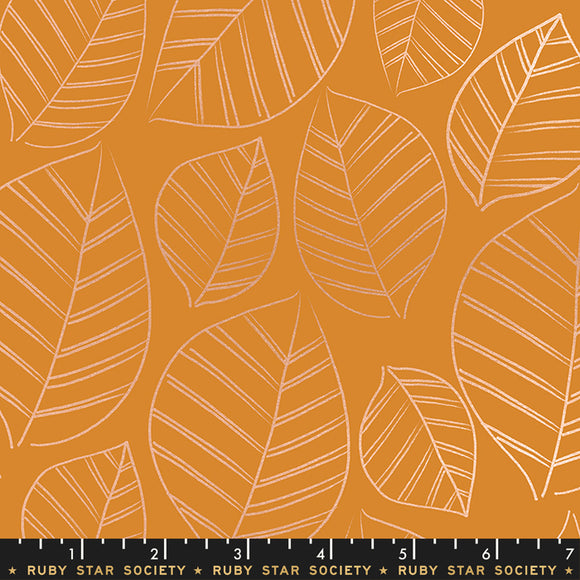 RS5003 14M Aviary Leafy Metallic in Caramel by Melody Miller, Rashida Coleman-Hale and Alexia Marcelle Abegg for Ruby Star Society from Pink Castle Fabrics