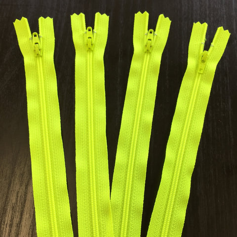 "4 pack of Neon Yellow 9"" YKK Zippers"