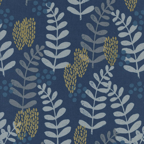 Imagined Landscapes Fern Dell Metallic in Navy