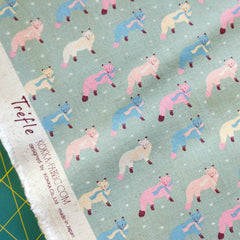 Animal World Fashionable Foxes in Dusty Teal from Animal World by Trefle by Kokka for Kokka