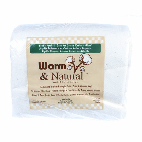 "Warm and Natural Needled Cotton Batting - King (120"" x 124"")"