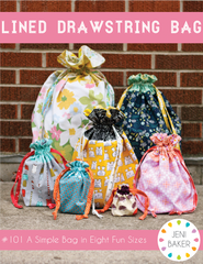 Lined Drawstring Bag - PDF Bag Pattern from Dreamin' Vintage by Jeni Baker for Art Gallery