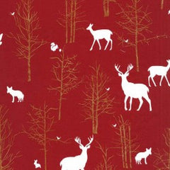 Christmas Timber Valley in Cranberry from Christmas at Brambleberry Ridge by Violet Craft for Michael Miller