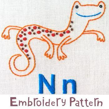 Newt Embroidery - PDF Accessory Pattern