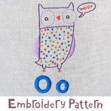 Owl Embroidery - PDF Accessory Pattern