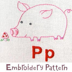 Pig Embroidery - PDF Accessory Pattern by Penguin and Fish