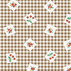 Apple Farm Picnic in Brown from Apple Farm by Elea Lutz for Penny Rose Fabrics