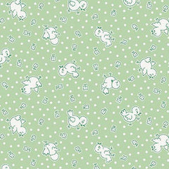 Apple Farm Chickadee in Green from Apple Farm by Elea Lutz for Penny Rose Fabrics