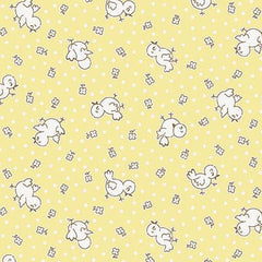 Apple Farm Chickadee in Yellow from Apple Farm by Elea Lutz for Penny Rose Fabrics