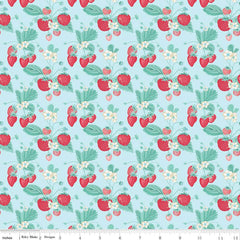 Shabby Strawberry Main in Blue from Shabby Strawberry by Emily Hayes for Penny Rose Fabrics