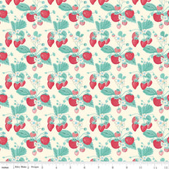 Shabby Strawberry Main in Cream from Shabby Strawberry by Emily Hayes for Penny Rose Fabrics