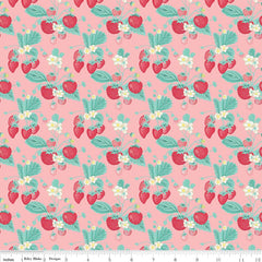 Shabby Strawberry Main in Pink from Shabby Strawberry by Emily Hayes for Penny Rose Fabrics