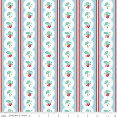 Shabby Strawberry Stripe in Blue from Shabby Strawberry by Emily Hayes for Penny Rose Fabrics
