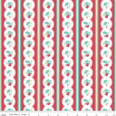 Shabby Strawberry Stripe in Red from Shabby Strawberry by Emily Hayes for Penny Rose Fabrics
