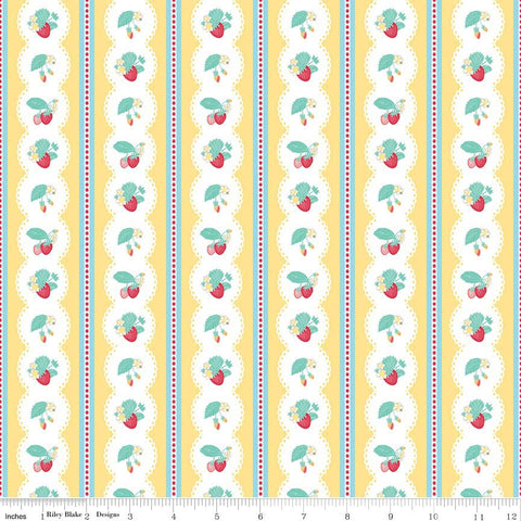 Shabby Strawberry Stripe in Yellow