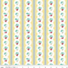 Shabby Strawberry Stripe in Yellow from Shabby Strawberry by Emily Hayes for Penny Rose Fabrics