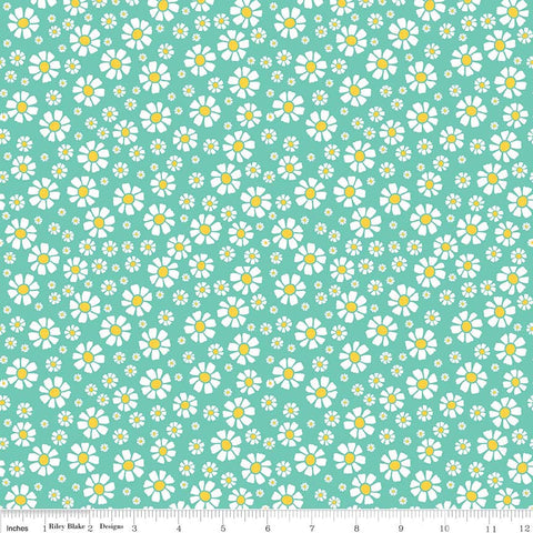 Shabby Strawberry Daisy in Teal