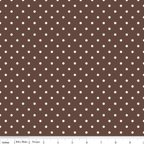 Swiss Dot in White on Brown