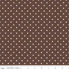 Swiss Dots in White on Brown from Spot On by Riley Blake House Designers  for Riley Blake